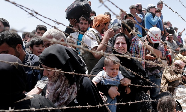 Syrian refugees being placed in temporary refugee camps in Europe.
