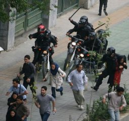 Iranian Revolutionary Guards Corps terrorize pro-democracy demonstrators in 2009.
