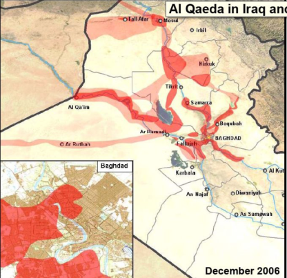 This is an image of where al Qaeda in Iraq (AQI) operated and dominated during the height of the Insurgency in the Iraq War in the Sunni Triangle. Most support and fighters emanated from neighboring Syria, who implicitly allowed for the flow of goods, personnel, and equipment from Syria into Iraq, to be used against Americans in Iraq. The Islamic State controls much of the same territory today.