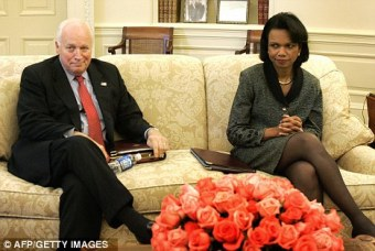 Former Vice-President Dick Cheney sits bemusedly beside Condoleezza Rice. Rice disapproved of Cheney's stark views of the world and the War on Terror, whereas Cheney felt that Rice demonstrated a painful naiveté that constituted a dangerous form of pre-9/11 thinking.