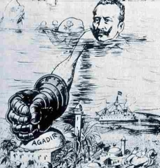 Here is a caricature of Kaiser Wilhelm II's heavy-handed approach to the Agadir Crisis which almost precipitated a full-scale war with Britain and the other imperial powers. It would be only a few short years before the Kaiser would play a significant role in leading the world into WWI, which saw the complete dismantling of not only the Congress of Vienna international order, but also set the stage for the fundamental shift of power toward the New World and placed the European colonial empires on an irrevocable path of destruction.