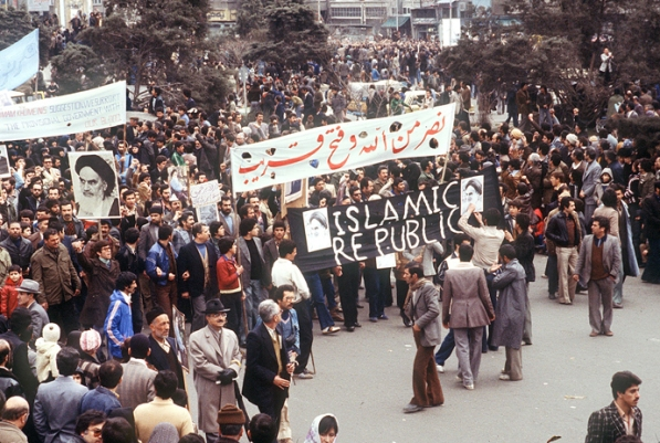 Iranian protests in support of the Ayatollah's revolution.