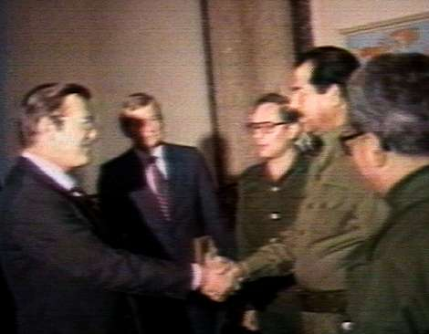 As the official Middle East Envoy for the Reagan Administration, then-former Secretary of Defense Donald H. Rumsfeld meeting with then-Iraqi dictator, Saddam Hussein, at a time when the U.S. was lending military assistance to Iraq in its vicious war against Iran. This photo would come to symbolize the profligacy and corruption of Rumsfeld, the George W. Bush Administration, and all Republicans in the minds of anti-Iraq War groups in the U.S. (and throughout the West) during the contentious Iraq War. However, I fail to see any difference between Mr. Rumsfeld serving as Middle East envoy for President Reagan and former Speaker Pelosi attempting to represent her constituents and the Democrat-controlled Legislative Branch in the region in 2007.