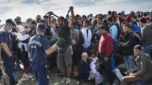 Syrian refugees being rounded up by European security forces upon arrival.