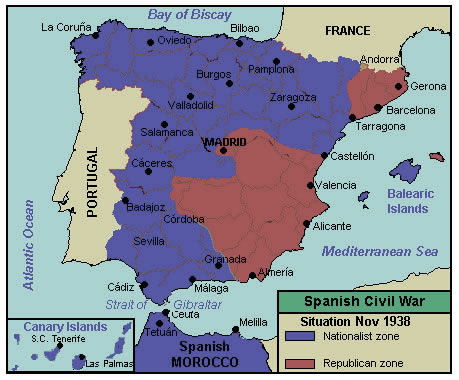 Here is who controlled what part of Spain during the Spanish Civil War in 1938 (the war would end a year later). During this period, even with significant Nazi help the Nationalist offensive would be stalled for almost a year and the situation would remain static. Much like the Syrian Civil War today.