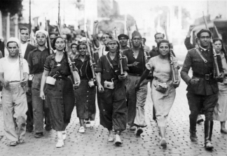 Here is a faction of Spaniards marching during the Spanish Civil War.