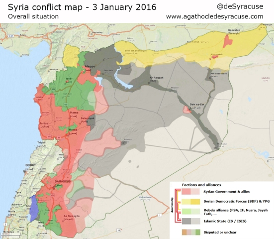 Map of who controls what in Syrian Civil War, January 2016.