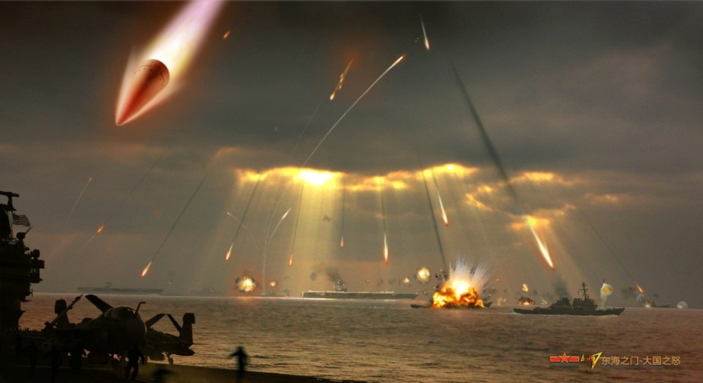 artists-conception-of-a-pla-anti-ship-ballistic-missile-attack-on-three-usn-cvns-operating-in-ridiculously-close-proximity