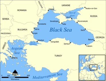 The Bosphorus Strait connects the Black Sea with the Mediterranean. In order to get the Mediterranean, you must pass through the Sea of Marmara and then the Aegean Sea.