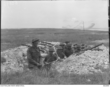 U.S. and Australian troops dug in together at the Battle of Hamel in World War I.
