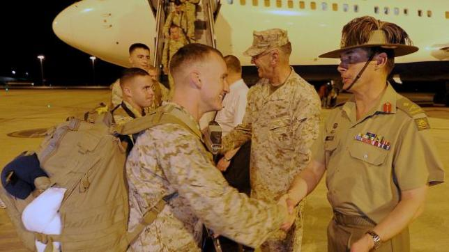 "In 2010, the Obama Administration announced that the northern Australian military base in Darwin would see the permanent deployment of roughly 200 United States Marines as part of the Obama Administration's ""Asia Pivot."" This photo is of the first U.S. Marines arriving at Darwin, being greeted by their Australian counterparts."