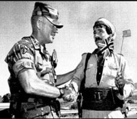 U.S. Army General Jay Garner meets with Kurdish leaders in 1994.